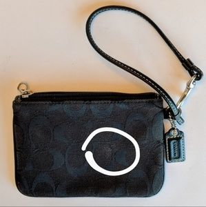 Coach Bags - Coach Monogram Wristlet Black Fabric and Leather